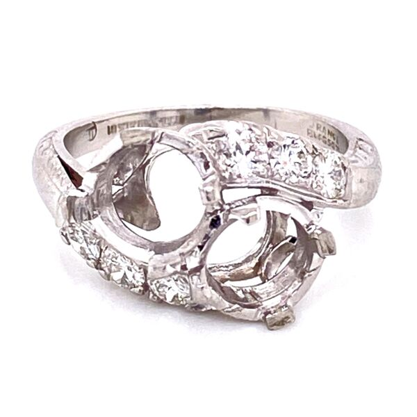 Closeup photo of Platinum Art Deco 2 Stone semimount Ring with Diamonds 6.4g