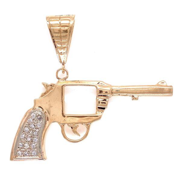 Closeup photo of 14K YG Revolver Pistol Necklace Pendant with .10tcw Diamonds 12.6g