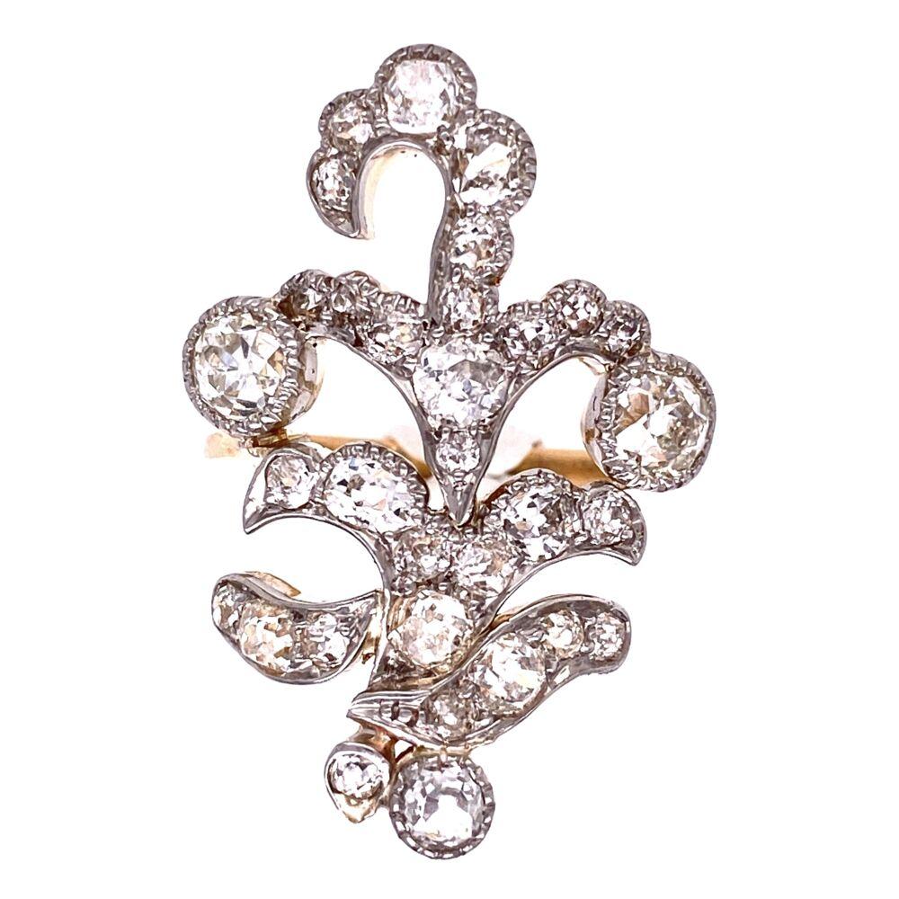 Image 2 for Platinum & 18K YG Edwardian free form Diamond cluster ring 7.5g