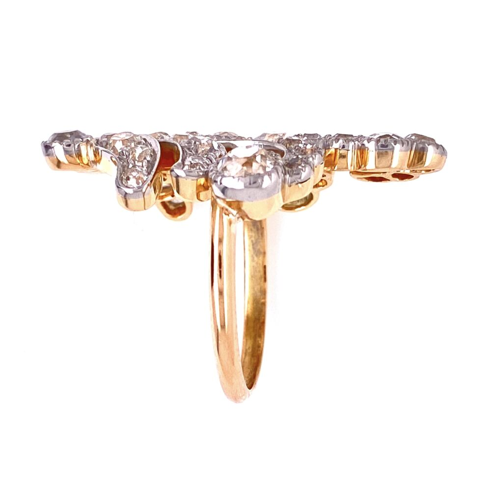 Platinum & 18K YG Edwardian free form Diamond cluster ring 7.5g