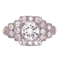 Closeup photo of Platinum Art Deco .60ct Diamond Ring with .20tcw side diamonds 2.9g