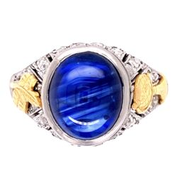 Closeup photo of Platinum Art Deco Cabochon Sapphire & Diamond Ring 5.4g
