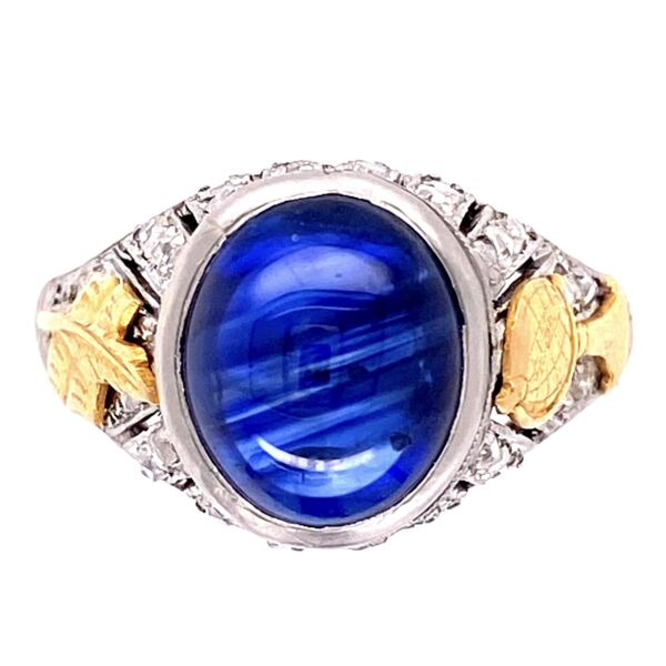 Closeup photo of Platinum Art Deco Cabochon Sapphire & Diamond Ring 5.4g