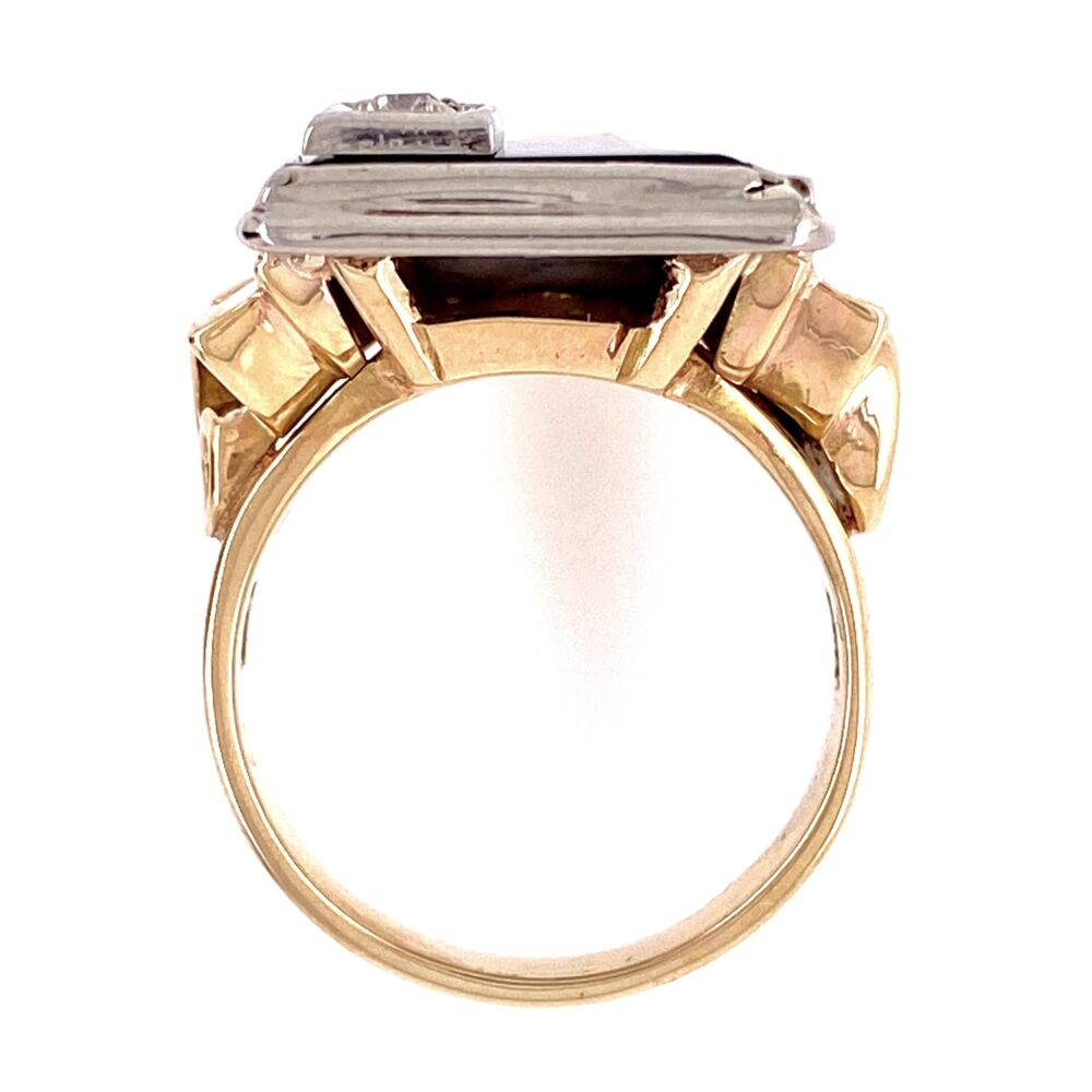 Image 2 for 14K 2tone Art Deco Onyx tablet & Diamond Ring 9.4g, s6.5