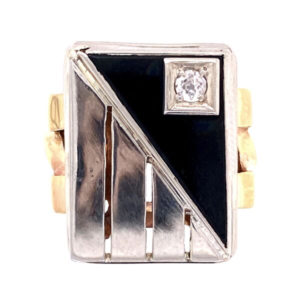 Closeup photo of 14K 2tone Art Deco Onyx tablet & Diamond Ring 9.4g, s6.5