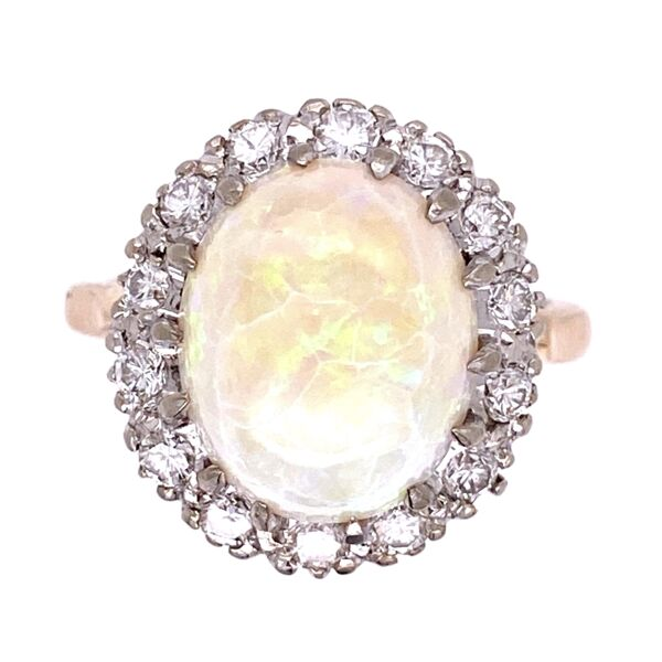 Closeup photo of 14K 2tone 1950's 5ct Opal & .70tcw diamond Ring 5.5g, s6.5
