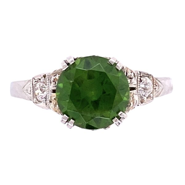 Closeup photo of Platinum Art Deco 1.85ct Round Demantoid Garnet Ring 3.3g, s6.5