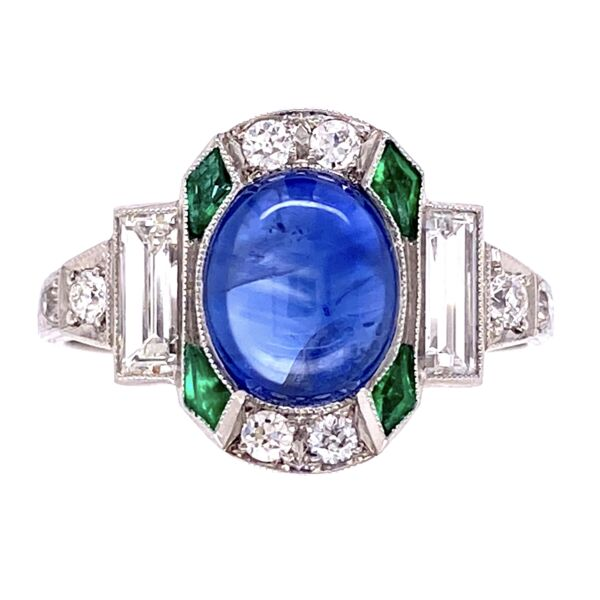 Closeup photo of Platinum Art Deco Cab Sapphire, Emerald & Diamond Ring 3.8g, s7
