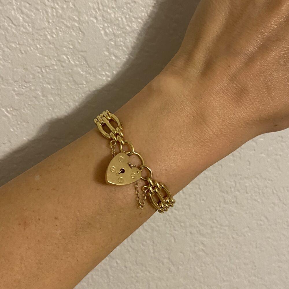 18K YG English Charles Green & Son Link Padlock Bracelet 32.4g