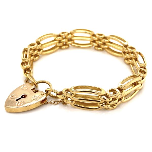 Closeup photo of 18K YG English Charles Green & Son Link Padlock Bracelet 32.4g