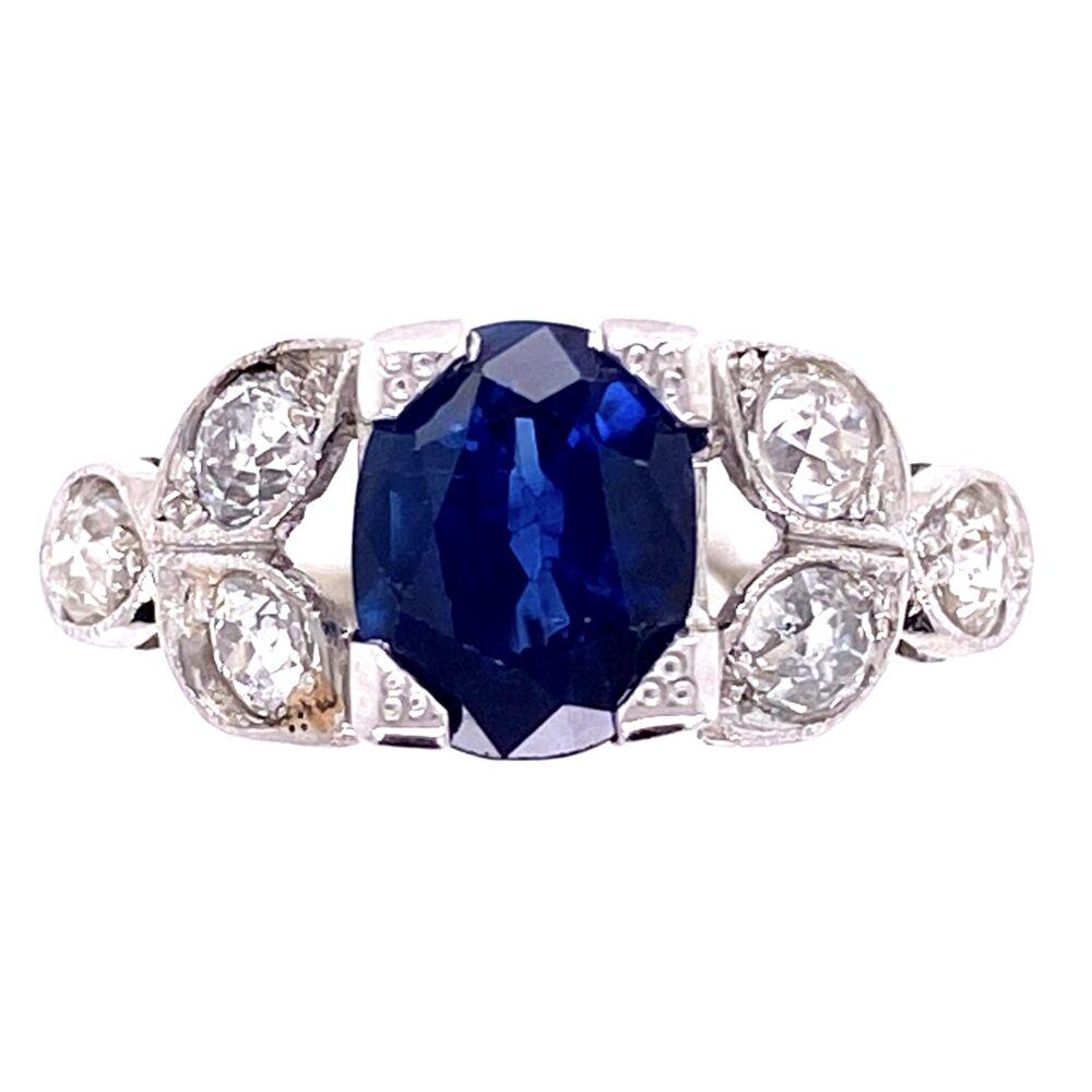 Platinum Art Deco 1.65ct Oval Sapphire & .80tcw Diamond Vintage Ring. s6