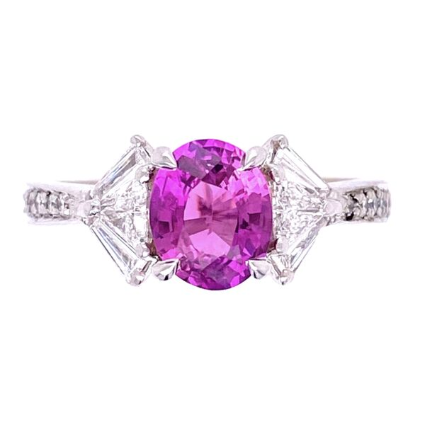 Closeup photo of Platinum SPARK Pink Sapphire and Fancy Diamond Ring. s6.5