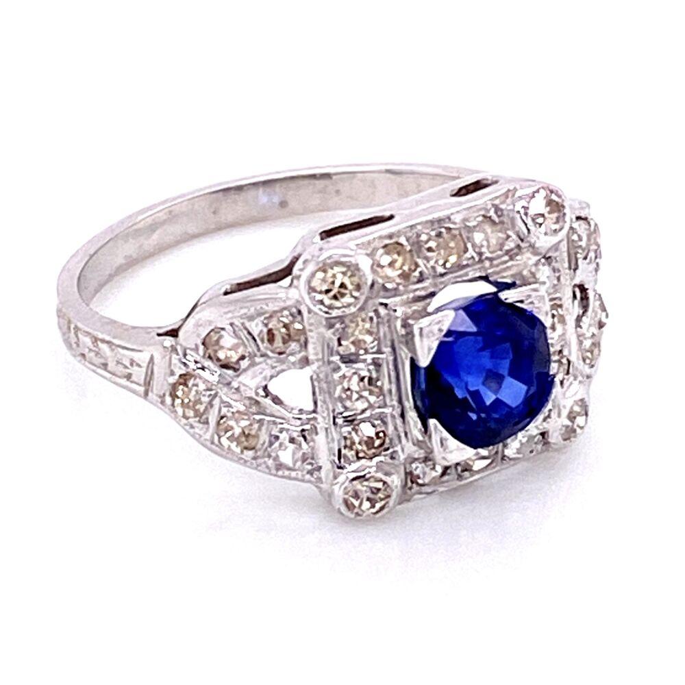 Image 2 for 18K WG Art Deco Sapphire & Diamond Ring, s6.5