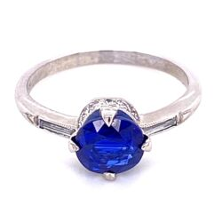 Closeup photo of Platinum Art Deco Solitaire Sapphire & Diamond Ring , s6.5