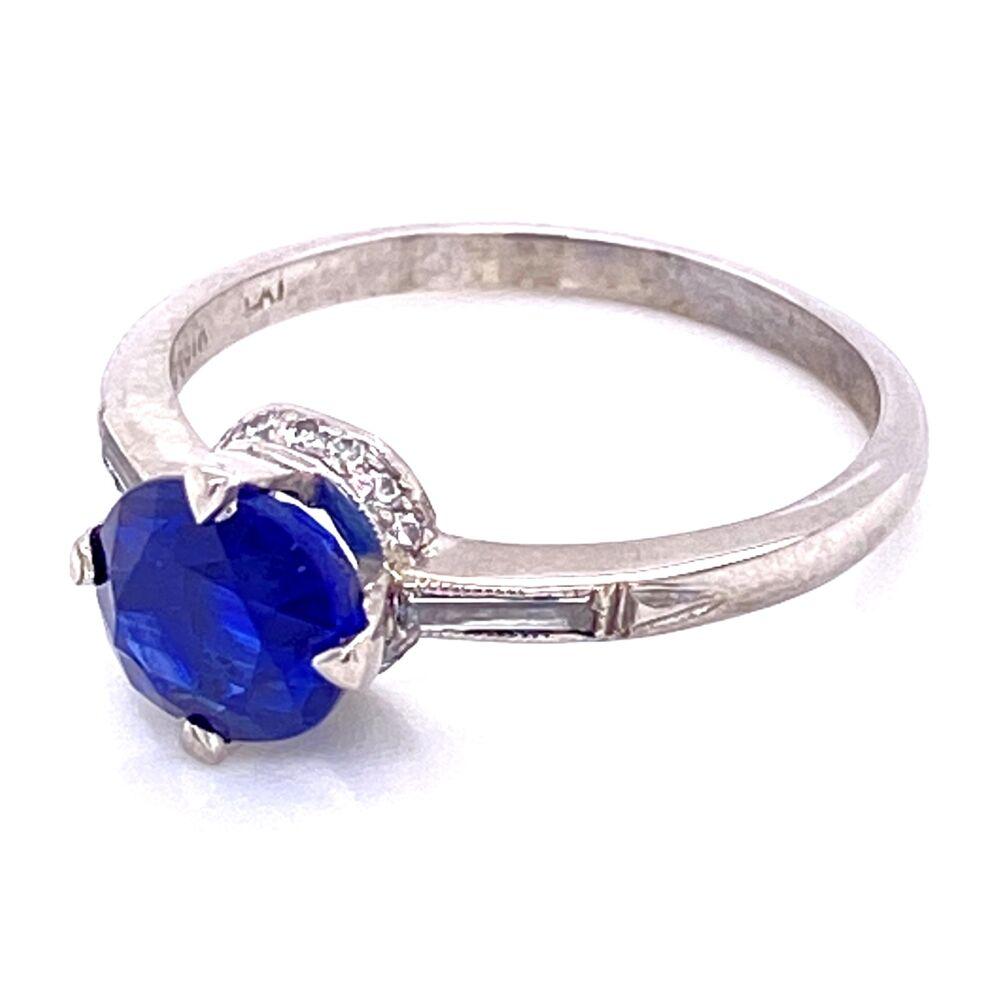 Platinum Art Deco Solitaire Sapphire & Diamond Ring , s6.5