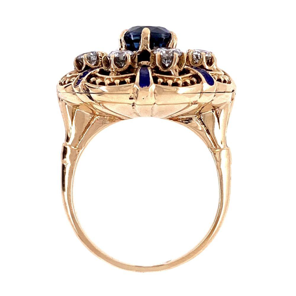 Image 2 for 14K YG Victorian Revival Sapphire, Diamond & Enamel Ring, s6.5
