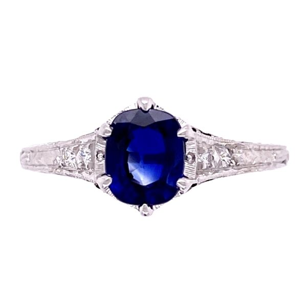 Closeup photo of 18K WG 1.18ct Sapphire & .06tcw Diamond Ring, s7
