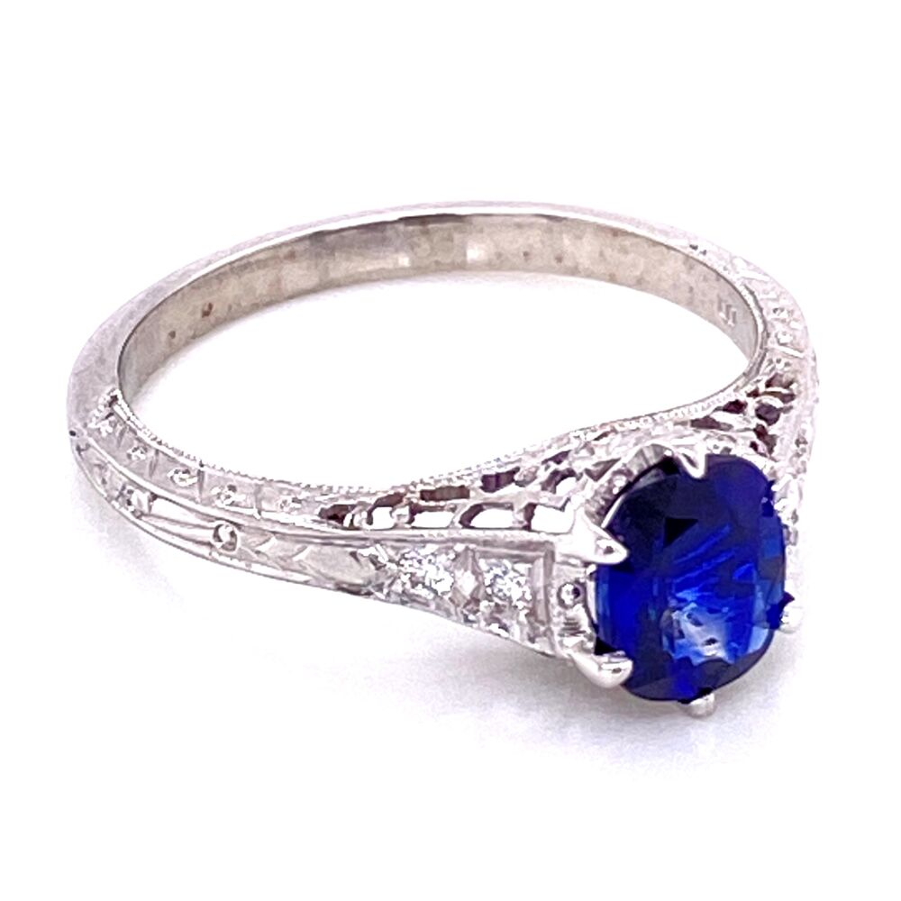 Image 2 for 18K WG 1.18ct Sapphire & .06tcw Diamond Ring, s7