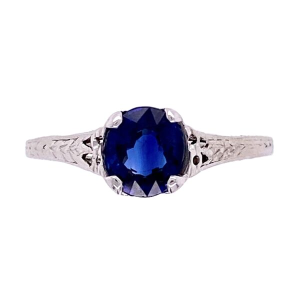 Closeup photo of Platinum Art Deco Solitaire Filigree 1.50ct Sapphire Ring, s6