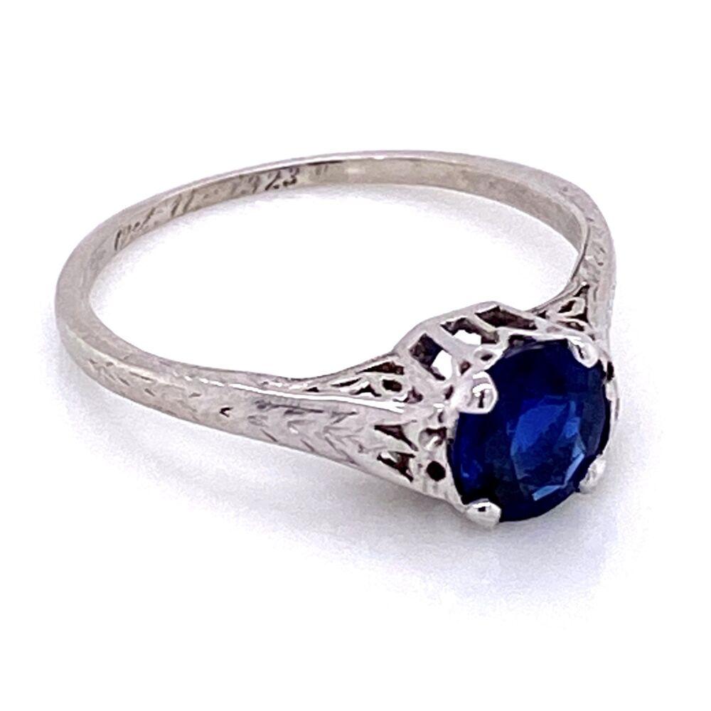 Image 2 for Platinum Art Deco Solitaire Filigree 1.50ct Sapphire Ring, s6