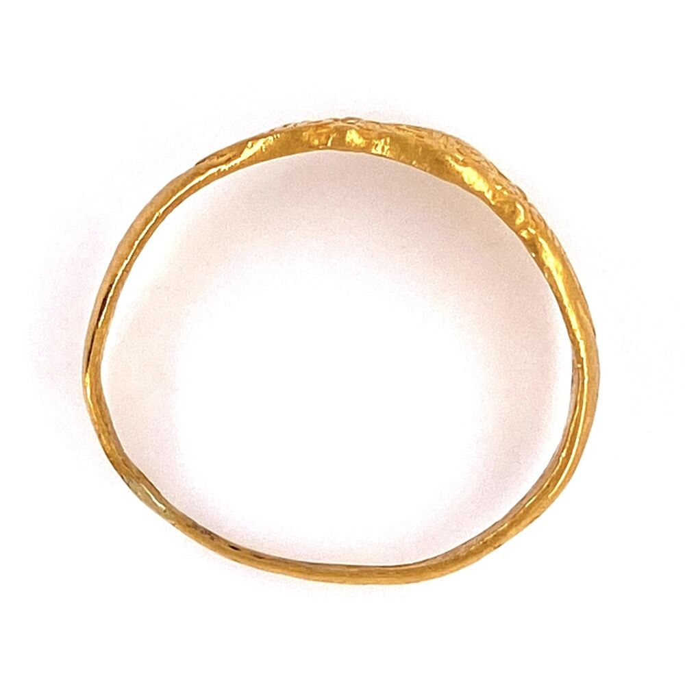 Image 2 for 24K YG Chinese Engraved Band Ring 3.0g, s6