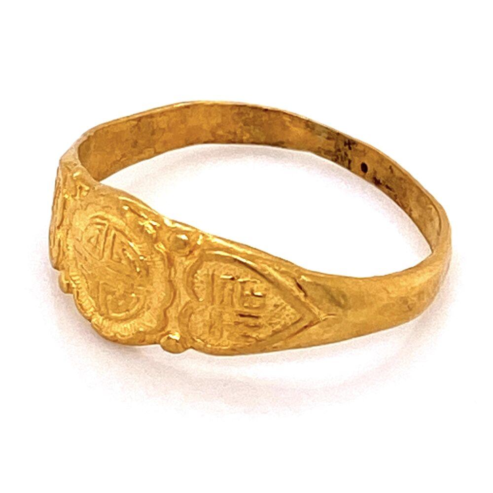 24K YG Chinese Engraved Band Ring 3.0g, s6