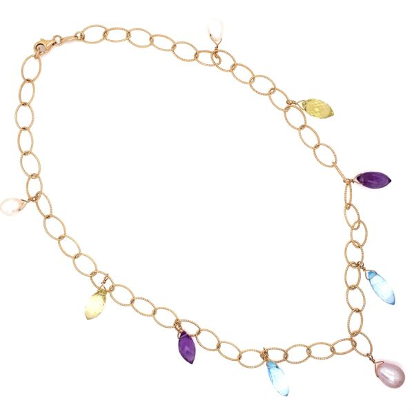 Closeup photo of 14K YG Italian Open Link Necklace with Dangling Gemstones 12.3g, 16""