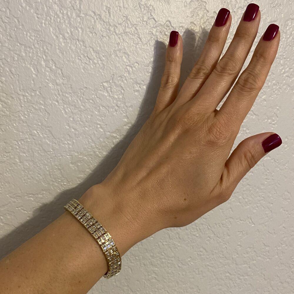 """14K YG 3 row 9.00tcw Diamond Bracelet 47.1g, 7"""""""