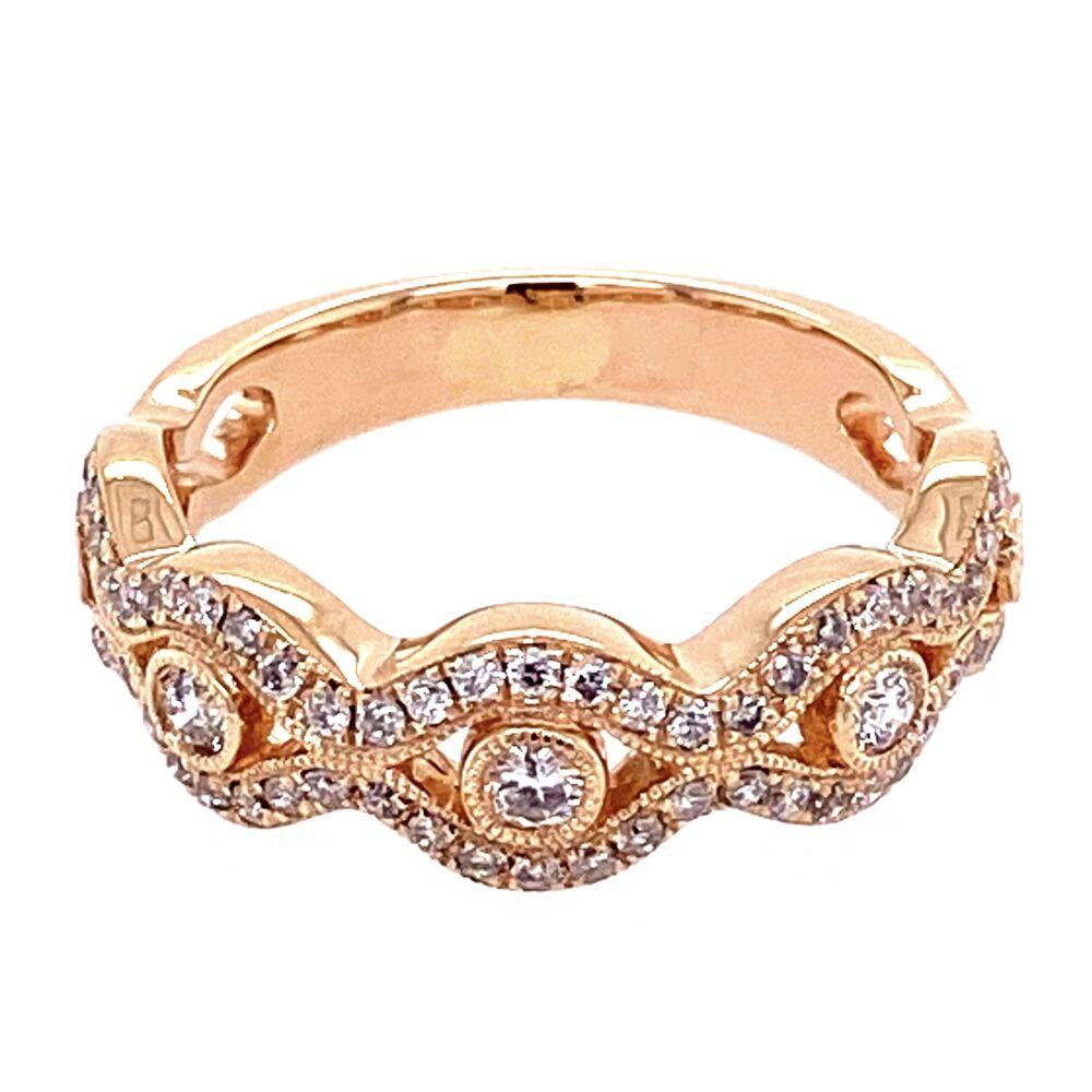 14K Rose Gold Diamond Swirl Band 4.1g, s6.5