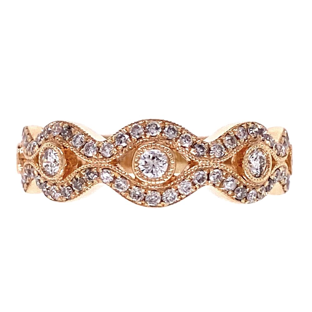 14K Rose Gold Diamond Swirl Band 4.1g, s6.5