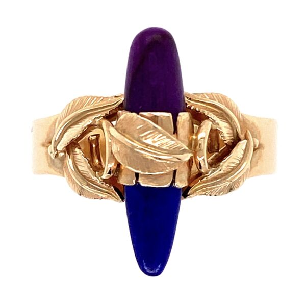 Closeup photo of 14K Yellow Gold Ring with Leaves over Lapis & Sugilite 3.4g, s5.75