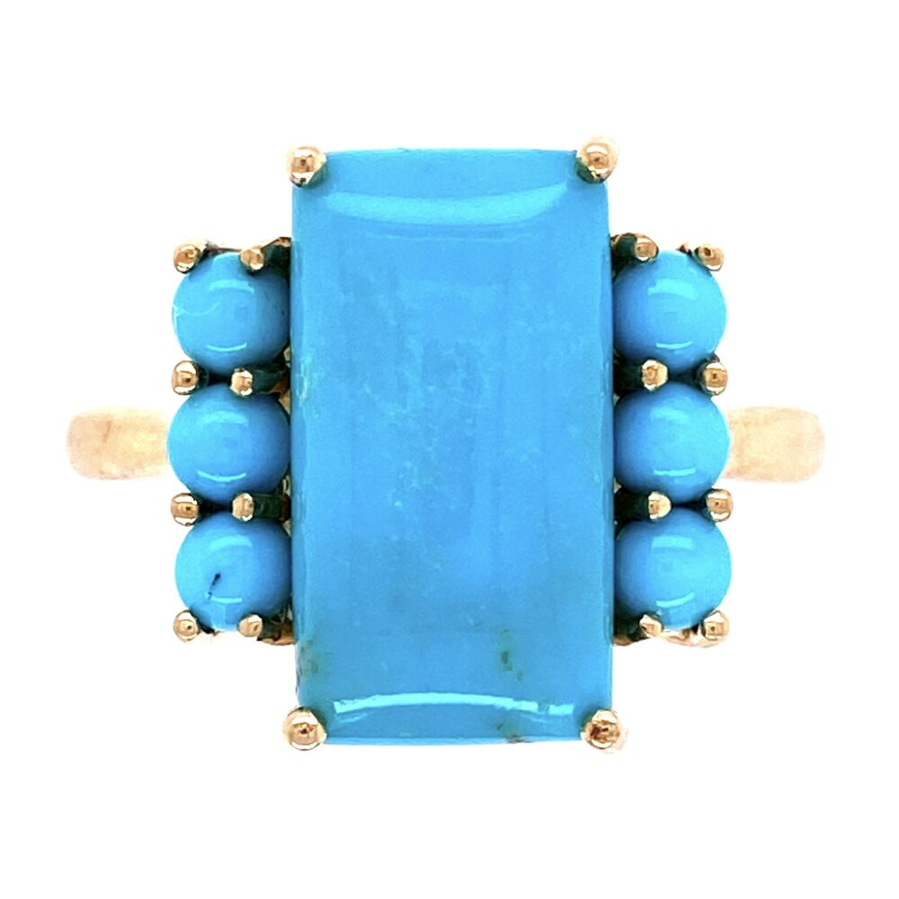 10K Yellow Gold Natural Turquoise Ring 3.9g, s8
