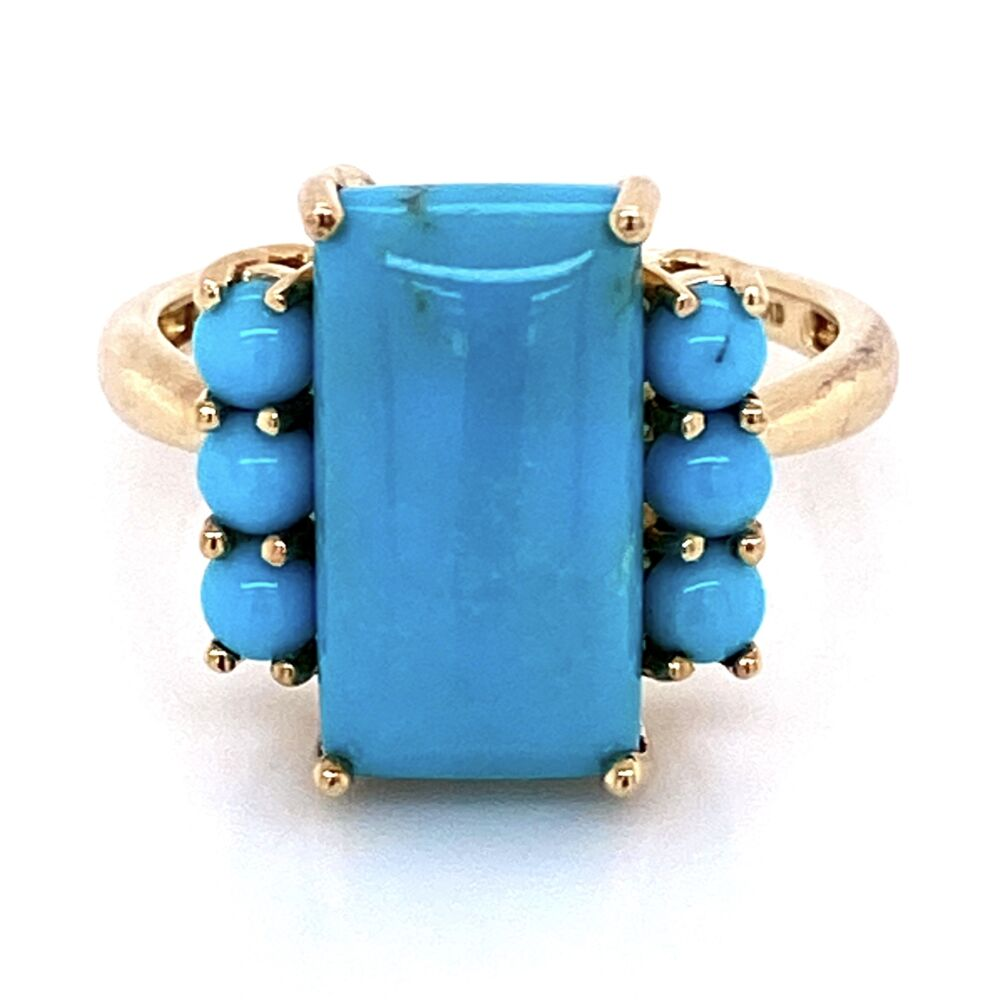Image 2 for 10K Yellow Gold Natural Turquoise Ring 3.9g, s8