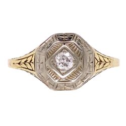 Closeup photo of Platinum on Gold late Edwardian Diamond Ring with Engraving, 2.8g, s10