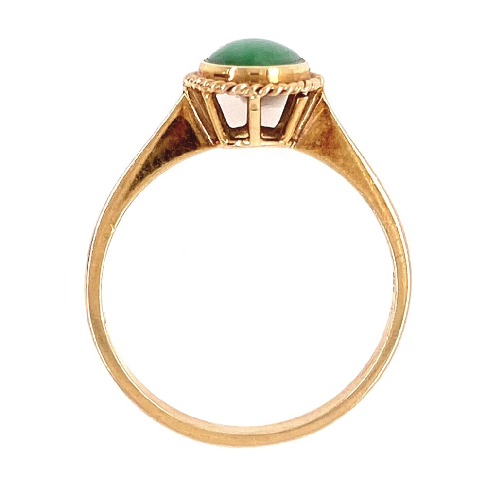 Image 2 for 14K Yellow Gold Cabochon Jade Ring 1.8g, s6.5