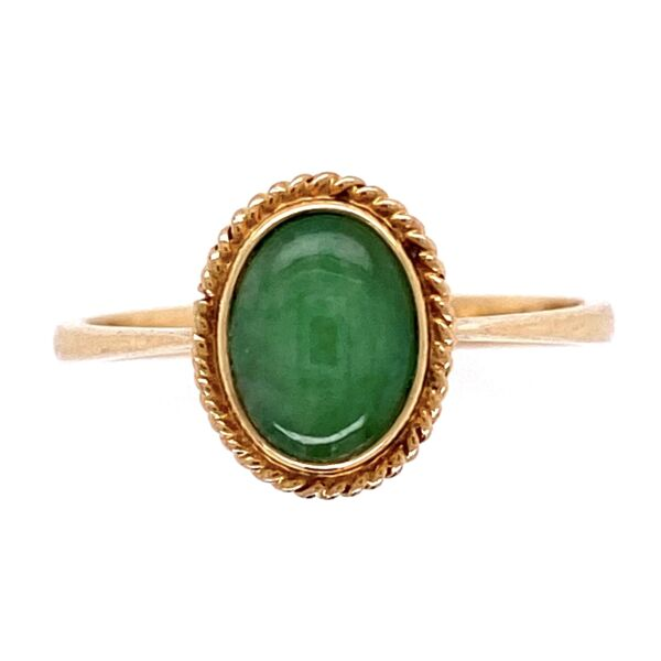 Closeup photo of 14K Yellow Gold Cabochon Jade Ring 1.8g, s6.5
