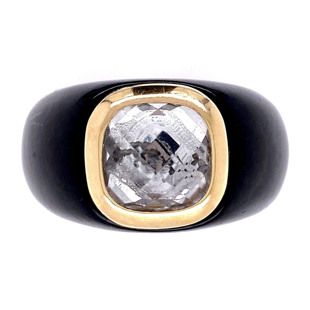 14K Yellow Gold Black Resin with Checkerboard Quartz 12.2, s10
