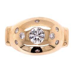 Closeup photo of 14K YG Diamond Dome Ring with .50ct Old Euro Diamond, 5.6g, s10.75