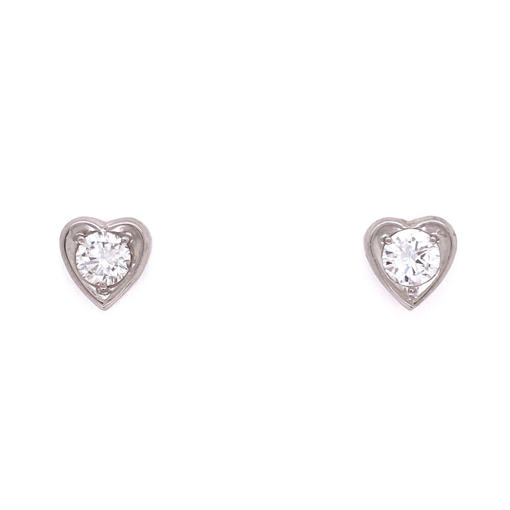 Image 2 for 14K WG Round Diamonds in Heart Shape Stud Mounting 1.8g