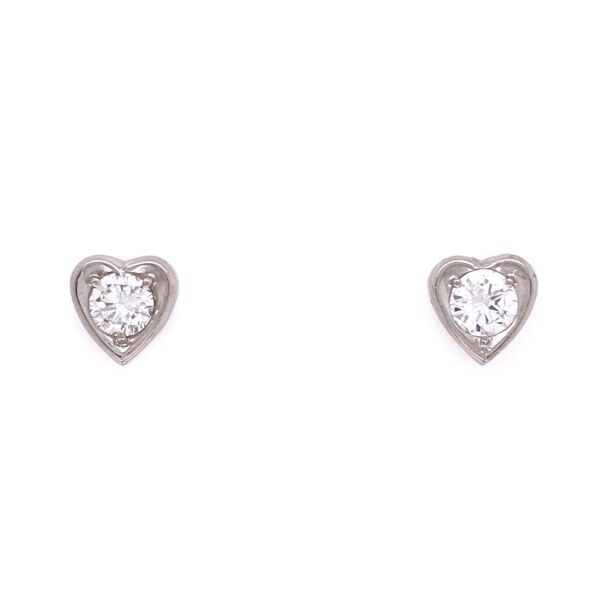Closeup photo of 14K WG Round Diamonds in Heart Shape Stud Mounting 1.8g