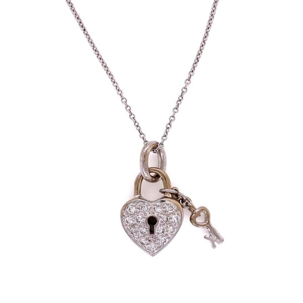 "Closeup photo of 18K WG .22tcw Diamond Heart Lock with Dangling Key on 16"" Chain, 5.2g"