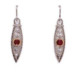 Closeup photo of Platinum Art Deco Long Dangling Earrings on Wire with Ruby & Diamonds 5.0g