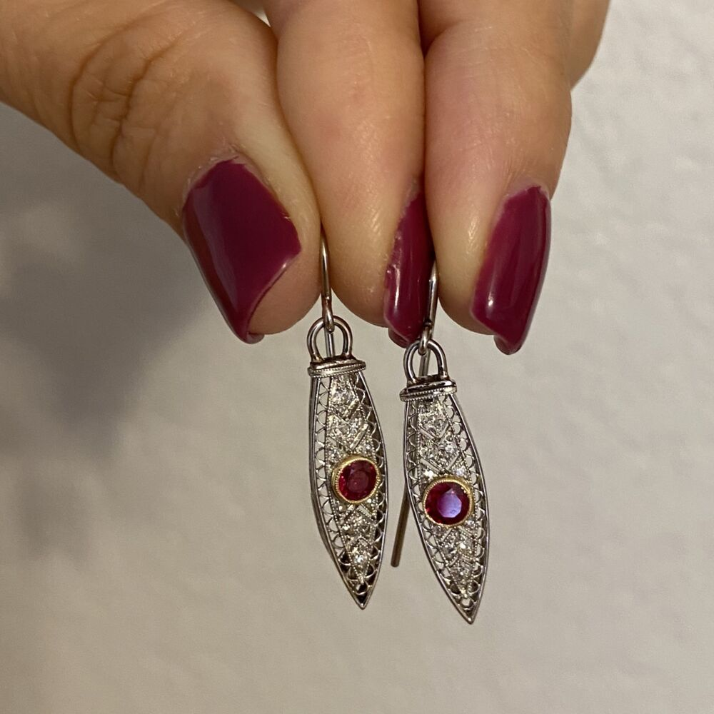 Platinum Art Deco Long Dangling Earrings on Wire with Ruby & Diamonds 5.0g