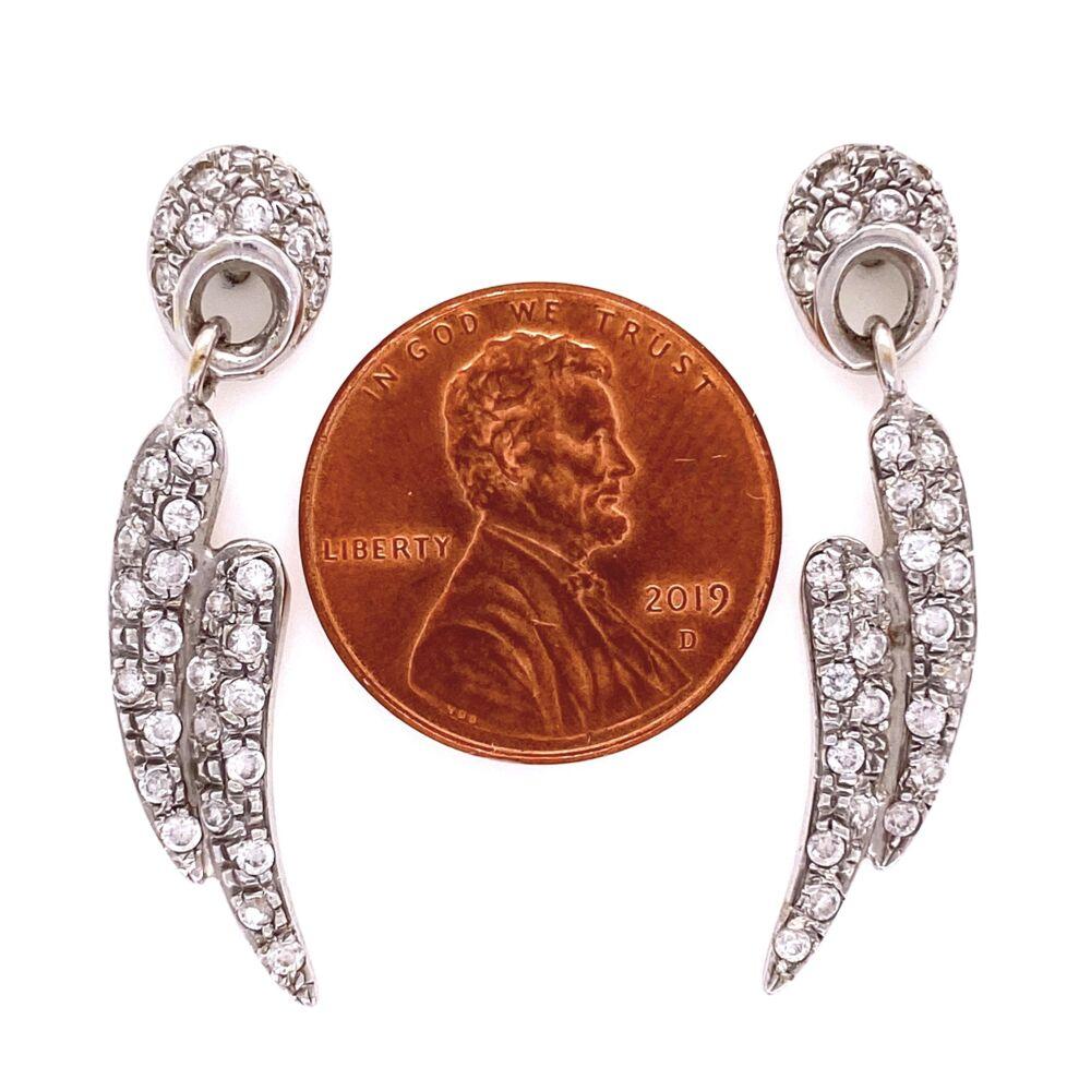 Image 2 for 14K WG Pave Diamond Wings Dangle Earrings 1.00tcw, 5.0g