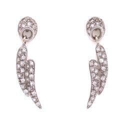Closeup photo of 14K WG Pave Diamond Wings Dangle Earrings 1.00tcw, 5.0g