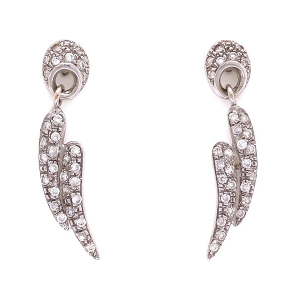 Closeup photo of 14K WG Pave Diamond Wings Dangle Earrings 1.00tcw, 5.0g