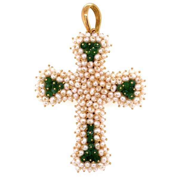 "Closeup photo of 18K YG Large Pearl & Emerald Italian MOD-DEP Cross Pendant 19.8g,  3"" Tall"