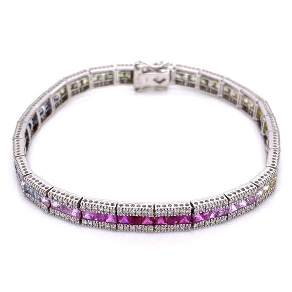 Closeup photo of 14K White Gold Line Bracelet, Rainbow sapphires 7.02tcw & diamonds 1.56tcw 7.25""