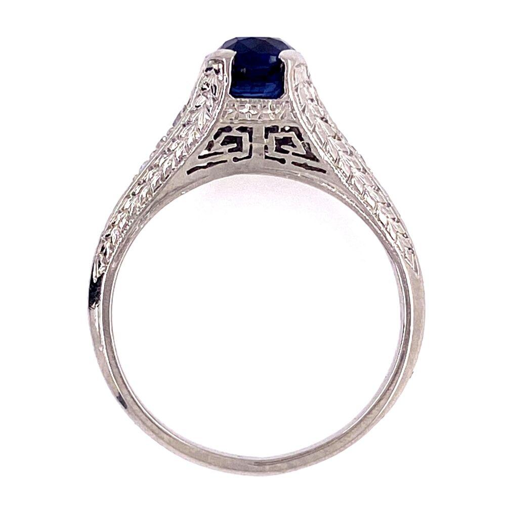 Image 2 for Platinum Art Deco 1.05ct Sapphire & .08tcw Diamond Ring 3.6g, s5.25