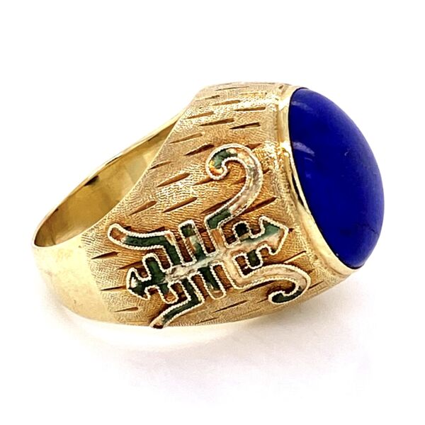 Closeup photo of 14K YG Chinese Lapis Dome Ring with Green Enamel 12.5g, s